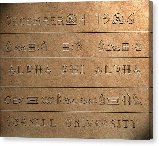 Alpha Phi Canvas Print - Alpha Hieroglyphics by Rodney Wofford