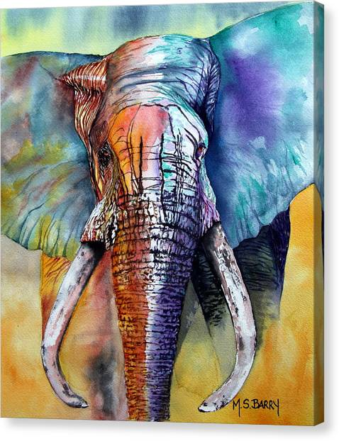 Elephants Canvas Print - Alpha by Maria Barry