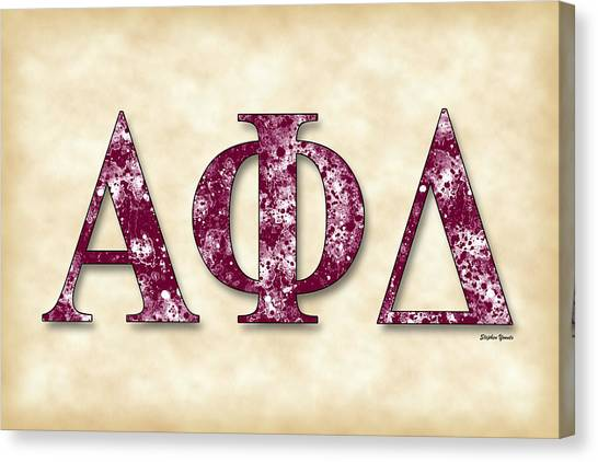 Alpha Phi Alpha Canvas Print - Alpha Phi Delta - Parchment by Stephen Younts