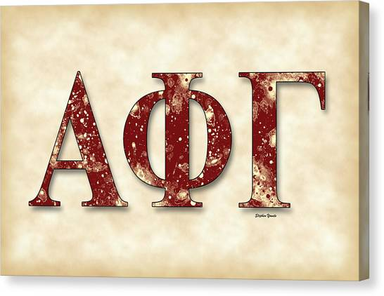 Alpha Phi Alpha Canvas Print - Alpha Phi Gamma - Parchment by Stephen Younts