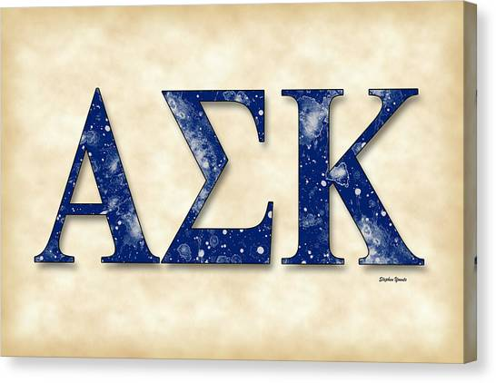 Kappa Sigma Canvas Print - Alpha Sigma Kappa - Parchment by Stephen Younts