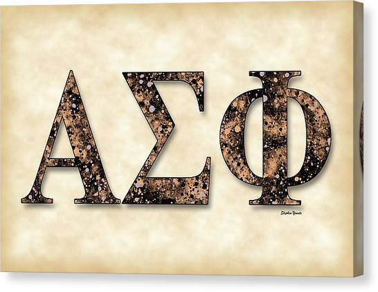 Alpha Phi Alpha Canvas Print - Alpha Sigma Phi - Parchment by Stephen Younts
