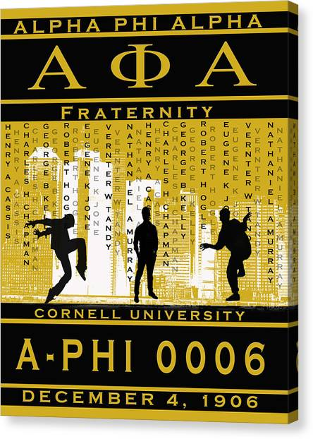 Alpha Phi Alpha Canvas Print - Alphas Steppin In Gold by Rodney Wofford