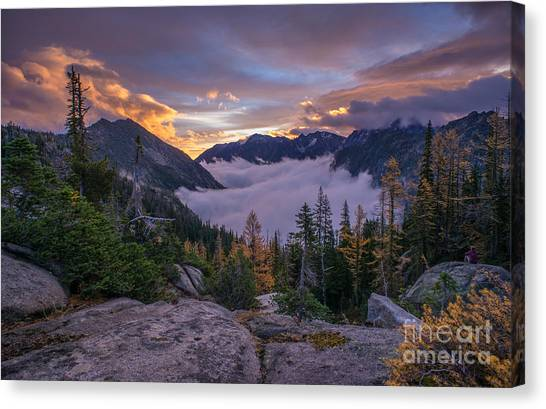 Horseshoe Falls Canvas Print - Alpine Lakes Morning Cloudscape by Mike Reid