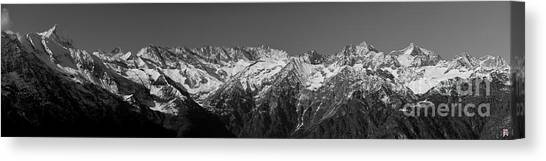 Alpine Peaks And Glaciers Canvas Print by Marco Affini