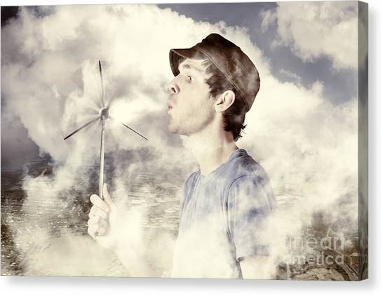 Clean Energy Canvas Print - Alternative Energy Man With Wind Power Solution by Jorgo Photography - Wall Art Gallery