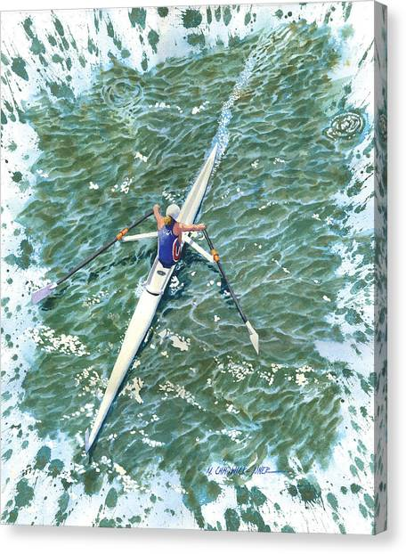 Patriot League Canvas Print - Alycia Crewing On The Charles by Marguerite Chadwick-Juner
