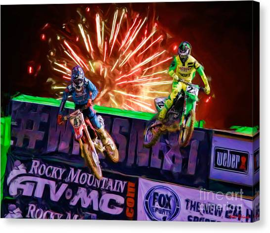 Ama 450sx Supercross Trey Canard Leads Chad Reed Canvas Print
