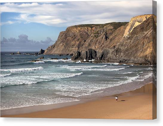 Canvas Print featuring the photograph Amado Beach Portugal by Georgi Djadjarov