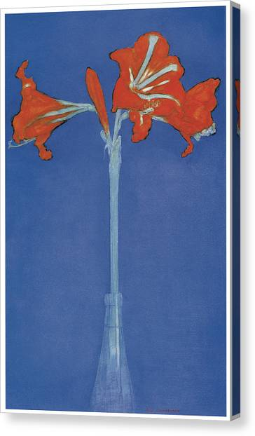 Amaryllis Canvas Print - Amaryllis In A Flask In Front Of A Blue Background by Piet Mondrian