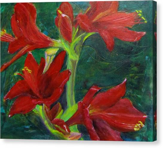 Canvas Print featuring the painting Amaryllis by Linda Feinberg