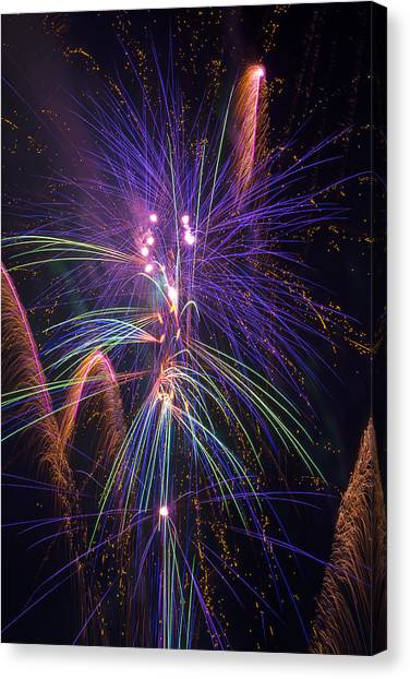 Pyrotechnics Canvas Print - Amazing Beautiful Fireworks by Garry Gay