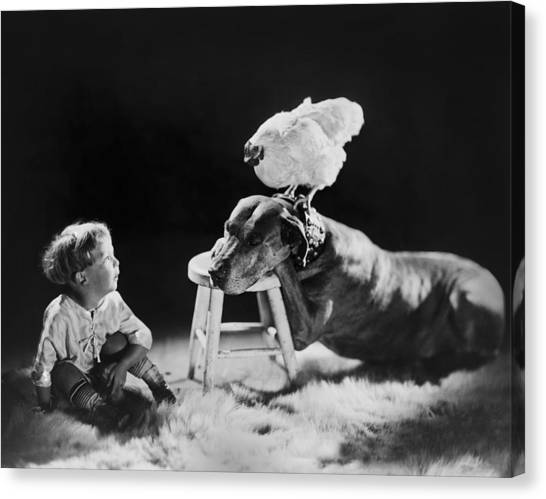 Children And Dog Canvas Print - Amazing Circa 1920 by Aged Pixel