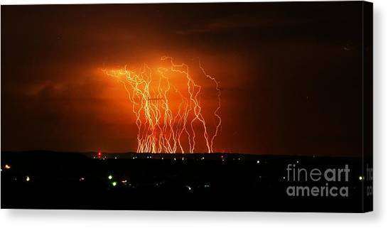 Amazing Lightning Cluster Canvas Print