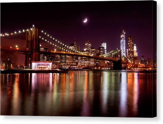 Amazing New York Skyline And Brooklyn Bridge With Moon Rising Canvas Print