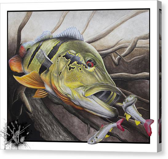 Bass Fishing Canvas Print - Amazon Assault by Nick Laferriere