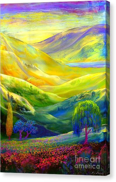 California Landscape Art Canvas Print -  Wildflower Meadows, Amber Skies by Jane Small