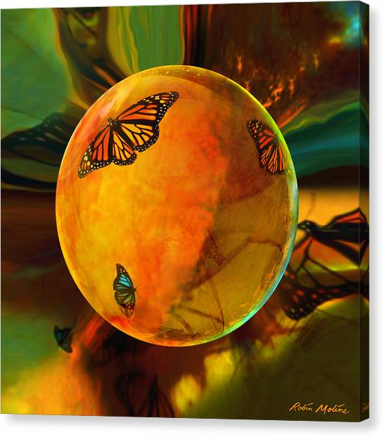 Amber Canvas Print - Ambered Butterfly Orb by Robin Moline