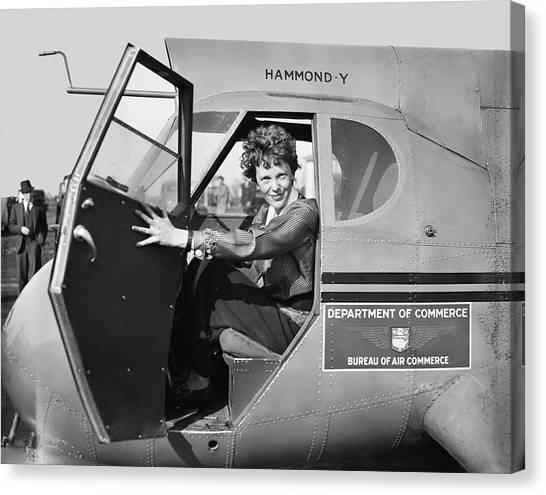 Airplanes Canvas Print - Amelia Earhart - 1936 by Daniel Hagerman