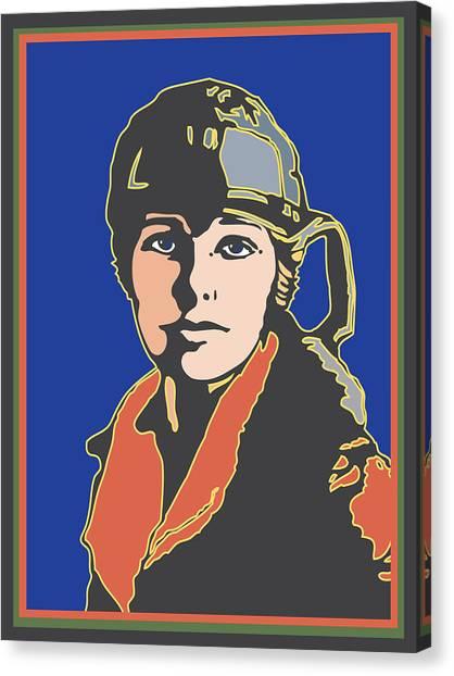 Amelia Earhart Portrait Canvas Print by Linda Ruiz-Lozito
