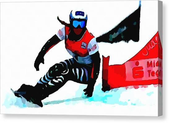Freeriding Canvas Print - Amelie Kober Snowboarding by Lanjee Chee