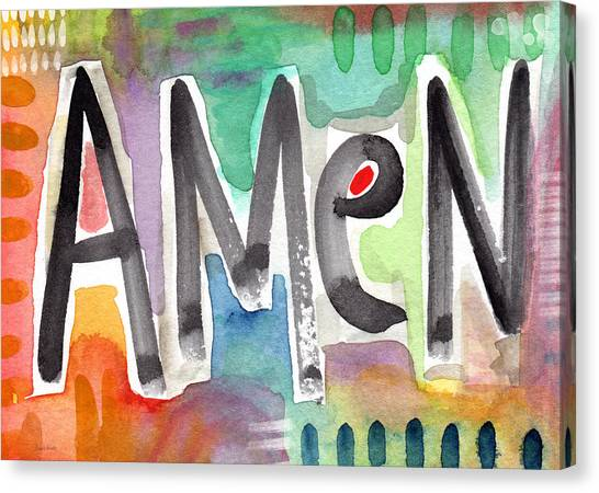 Religious Canvas Print - Amen Greeting Card by Linda Woods