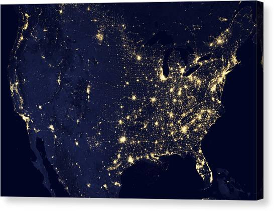 Satellite Canvas Print - America At Night by Adam Romanowicz