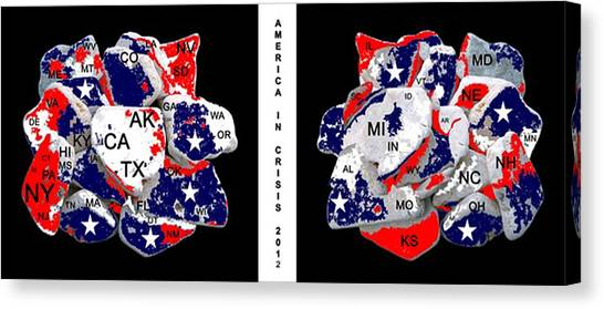 Us Civil War Canvas Print - America In Crisis 2012 by Bruce Iorio