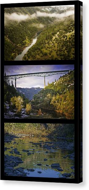 Canvas Print featuring the photograph American River Triptych by Sherri Meyer