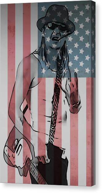 American Flag Canvas Print - American Badass by Dan Sproul