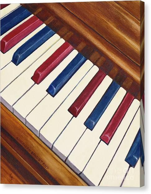 Canvas Print featuring the painting American Bandstand by Karen Fleschler