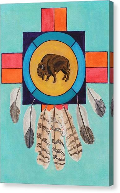 American Bison Dreamcatcher Canvas Print