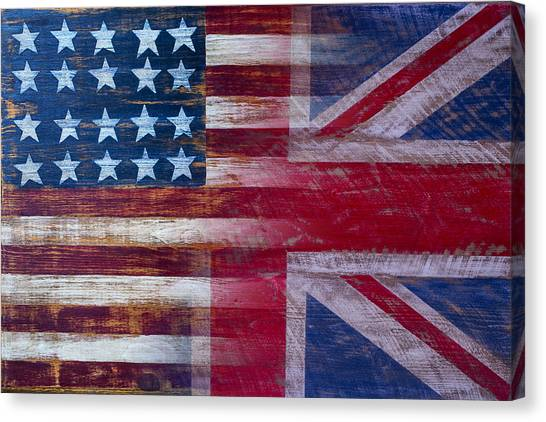 Folk Art Canvas Print - American British Flag by Garry Gay