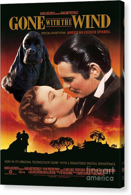 Gone With The Wind Canvas Print - American Cocker Spaniel  Art - Gone With The Wind Movie Poster by Sandra Sij