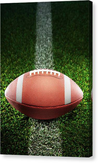 American College Football On Grass Canvas Print by Skodonnell