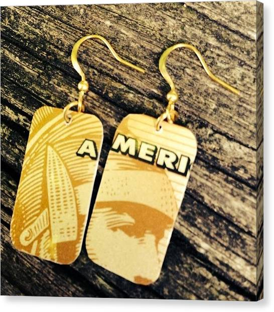 Landmark Canvas Print - American Express Ooak Earrings Designed by Marianna Mills