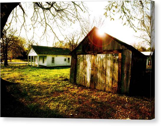 Mickey Mantle Canvas Print - American Fabric   Mickey Mantle's Childhood Home by Iconic Images Art Gallery David Pucciarelli