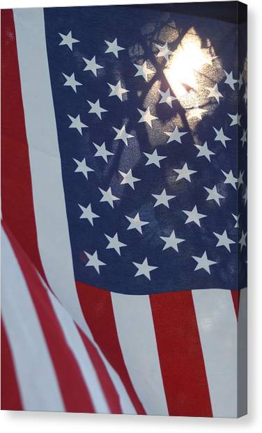 Blue Camo Canvas Print - American Flag - 01131 by DC Photographer