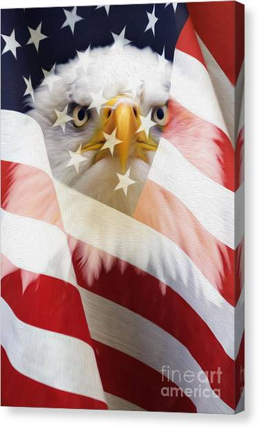 American Flag And Bald Eagle Montage Canvas Print