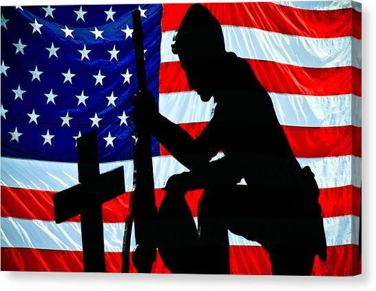 Special Forces Canvas Print - A Time To Remember American Flag At Rest by Bob Orsillo