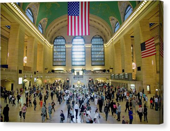 Amtrak Canvas Print - American Flag From An Elevated View by Panoramic Images