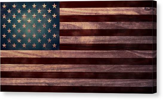 Folk Art Canvas Print - American Flag I by April Moen