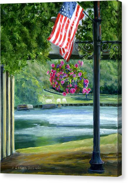 American Flag In Natchitoches Louisiana Canvas Print