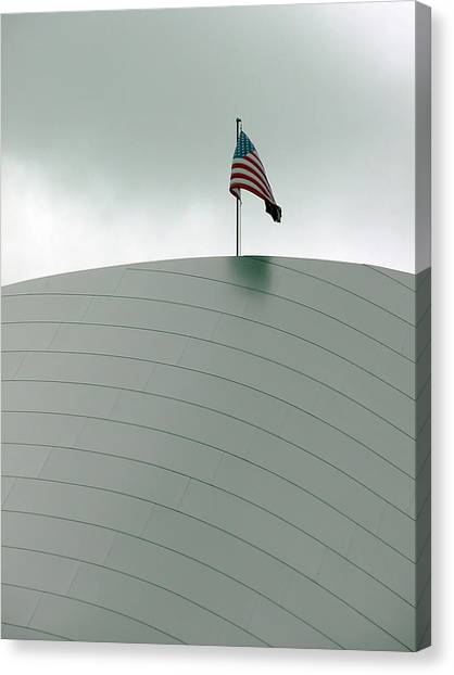 American Flag On Modern Museum In La Canvas Print