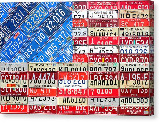 Flags Canvas Print - American Flag Recycled License Plate Art by Design Turnpike
