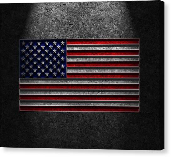 American Flag Stone Texture Canvas Print