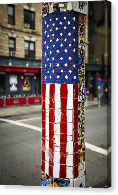 Gay Flag Canvas Print - American Flag Tiles by Garry Gay