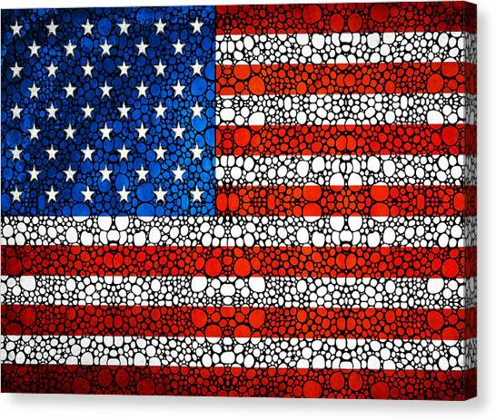 Democratic Canvas Print - American Flag - Usa Stone Rock'd Art United States Of America by Sharon Cummings
