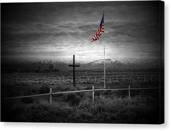 Coast Guard Canvas Print - American Flag With Cross by Scott McGuire