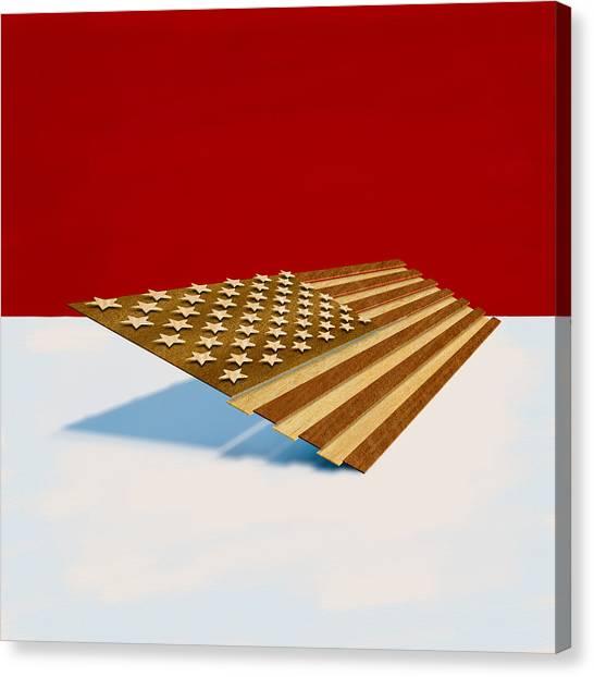 Folk Art Canvas Print - American Flag Wood by Yo Pedro